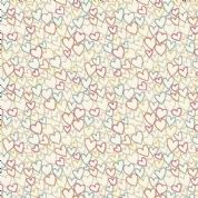 Makower UK - Ellie - 6232 - Multicoloured All Over Hearts on Cream - 2071_T - Cotton Fabric